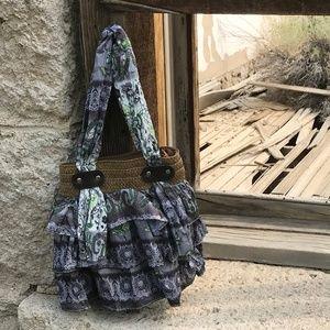 Handbags - Paisley Scarf Woven Straw Tote Bag Green Dk Gray